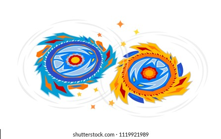 Collective image of the children's popular toy Beyblade. The battle of two Beyblade in the arena in a flat style. vector illustration, isolated on white background