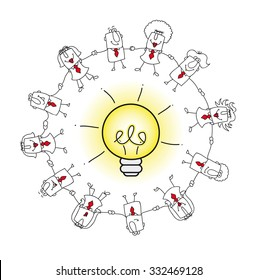 The collective intelligence. A business team around an idea bulb. it is a metaphor of the concept of collective intelligence or crowd solving