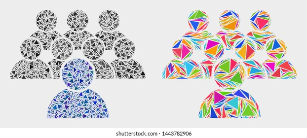 Collective mosaic icon of triangle items which have different sizes and shapes and colors. Geometric abstract vector illustration of collective.
