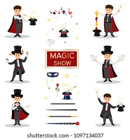 Collectoin of magicians.Magicians with doves, playing cards, magic winds and hats.Isolated on white background. Cartoon style. Vector illustration