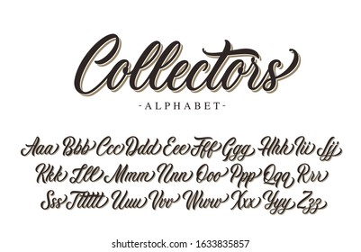 Collectors calligraphy premium script. Vector alphabet.