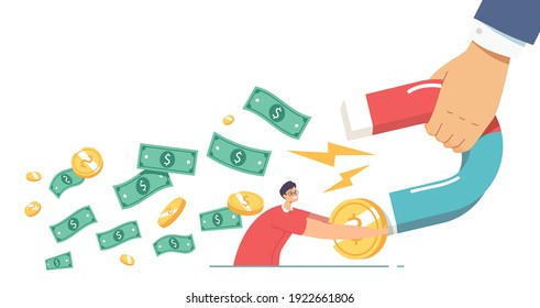 Collectors Chase, Financial Loan Demand from Borrower, Debt Collection Concept. Huge Hand with Magnet Attracting Money from Male Character Trying to Holding his Capital. Cartoon Vector Illustration