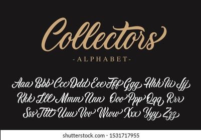 Collectors lettering alphabet. Vector script.