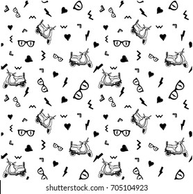 7dffce801 college all over print illustration vector graphic. Vector seamless pattern  with hand ...