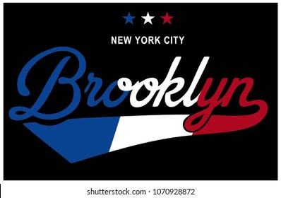 College apparel print.Vector Illustration. Lettering ' New York City - Brooklyn 'Usa Flag print. Varsity Print. Apparel Print
