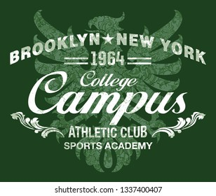 College Athletic club with damask gryphon background vintage vector print for t shirt grunge effect in separate layers