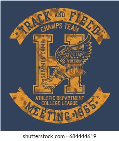 College Athletic department cross country running, vector print for sport wear grunge effect in separate layer