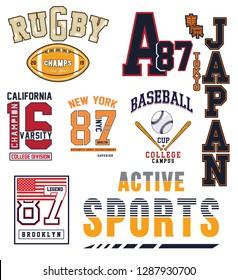 College Athletic sport labels typography, t-shirt graphics, vectors - Vektör