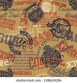 College athletics badges grunge patchwork vector seamless pattern