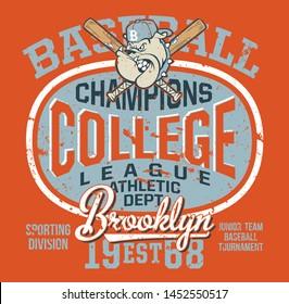 College baseball bulldog junior team vector artwork for children sport wear grunge effect in separate layer