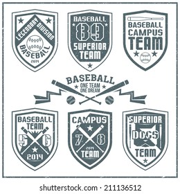 College baseball team emblem graphic design for t-shirt. Dark print on a white background