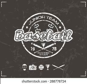 College baseball team emblem. Graphic design for t-shirt.  White  print on brown background