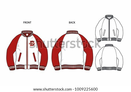 College Bomber Jacket Vector Illustration Flat Stock Vector Royalty