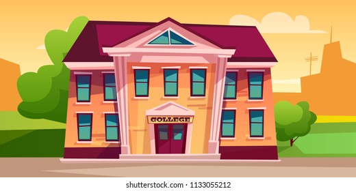 College building vector illustration for education design. Cartoon facade of modern or retro school entrance with outdoor courtyard for back to college concept