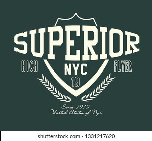college edition, new york city written t shirt edition, superior- vector