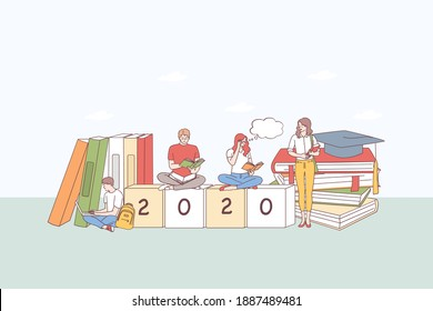 College education, student learning concept. Group of tong people students sitting on stack of books, learning, typing texts and thinking on 2020 cubes below vector illustration