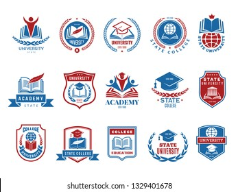 College emblem. School or university badges and labels vector logotype collection