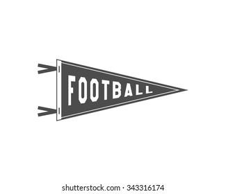 College Football Pennant Banner Icon. Sport flag, training camp emblem. University team label element. Monochrome design template. Vector sign