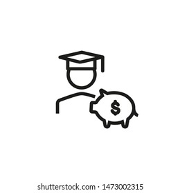 College fund line icon. Piggy-bank, student, graduation. Budget for education concept. Can be used for topics like investment, savings, loan for education