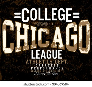 college graphic for t-shirt, chicago college football, vintage sports graphics, vector graphics
