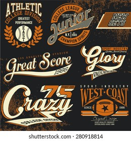 college graphics for t-shirt,vintage logo sets
