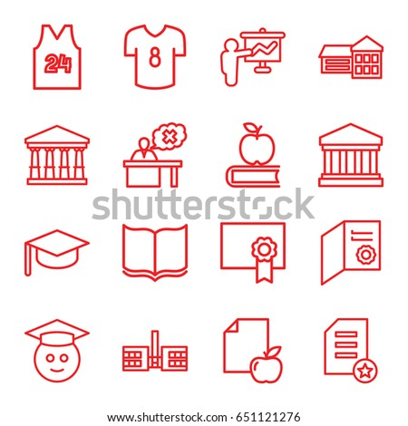 College Icons Set Set 16 College Stock Vector (Royalty Free