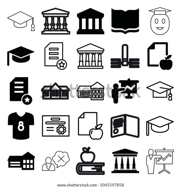 College Icons Set 25 Editable Filled Stock Vector (Royalty