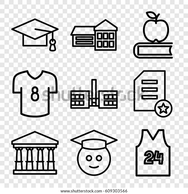 College Icons Set Set 9 College Stock Vector (Royalty Free