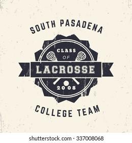 College Lacrosse Team vintage grunge badge, t-shirt design, print, vector illustration