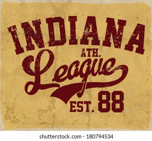 college league. Vintage vector artwork for boy sportswear in custom colors