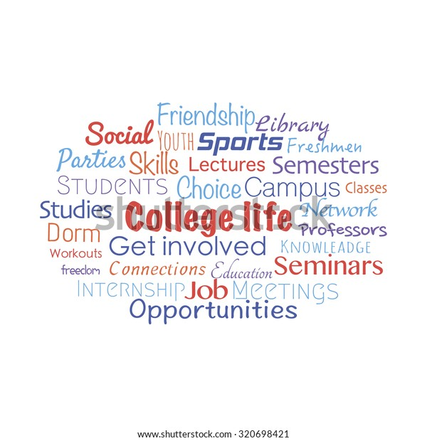 College Life Related Words Collage Made Stock Vektorgrafik