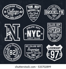 College New York, Brooklyn  typography patches, t-shirt graphics.