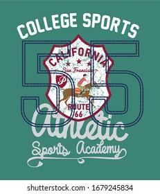 college polo sports graphic design vector art