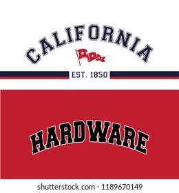 College print apparel set.Old school vector graphic for fashion and printing.New York, California,Brooklyn. Original badge,tee print.Vintage apparel. Retro artwork and typography. Big vector set.