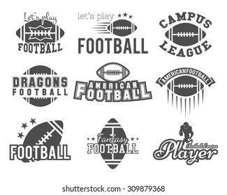 College rugby and american football team badges, logos. Graphic vintage designs for t-shirt, web. Monochrome print isolated on a white background. Vector.