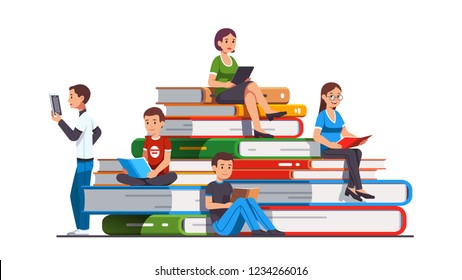 College and school students kids, man & woman sitting, reading on big pile of books using paper and digital books, tablet computers. Education, knowledge concept. Flat cartoon vector illustration