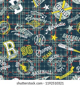 College sport graphics collage with grunge plaid wallpaper abstract vector seamless pattern