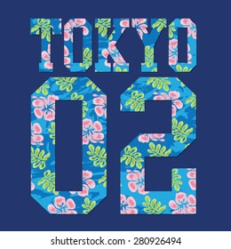 College sport Tokyo flowers typography, t-shirt graphics, vectors, girl