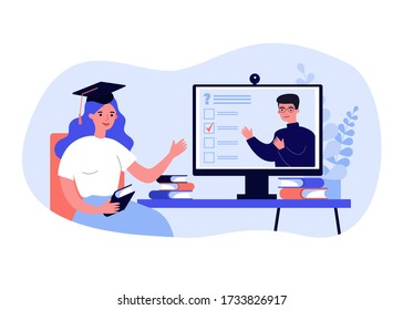 College student watching online webinar, passing test, using computer, attending class. Vector illustration for distance learning, homeschooling, education in lockdown time, video conference concept