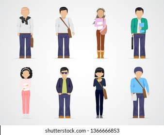 College Students. Diverse College Students - Isolated On Gray Background - Vector Illustration. University People Icon Set. Flat Design Of Young Man And Woman. People With Characters And Professions