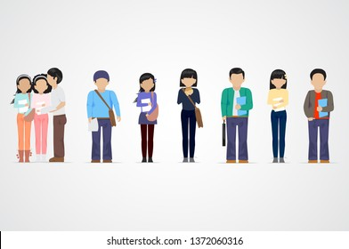 College Students. Diverse College Students - Isolated On Gray Background - Vector. University People Icon Set. Flat Design Of Young Man And Woman talking. People With Characters And Professions