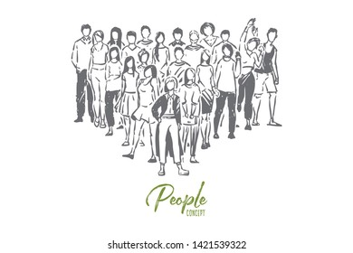 College students, high school pupils, boys and girls posing for group photo, teenagers standing together. Faceless people, classmates cohesion concept sketch. Hand drawn vector illustration