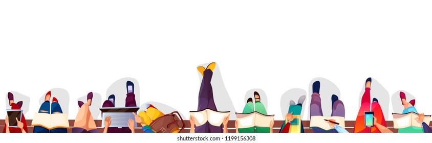 College students sitting on bench vector illustration. Top view of school or university campus girls and boys holding bags, laptops or smartphones and reading books on white background