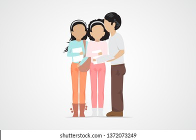 College Students talking. Diverse College Students - Isolated On Gray Background - Vector. University People. Flat Design Of Young Man And Women talking. People With Characters
