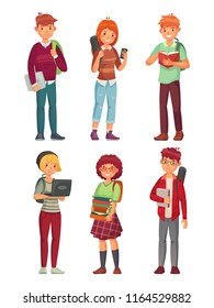 College students. University studying student in library, teenager studying english books and people learning chinese and korean, teenagers with backpacks cartoon vector isolated characters icon set