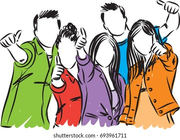 college students vector illustration