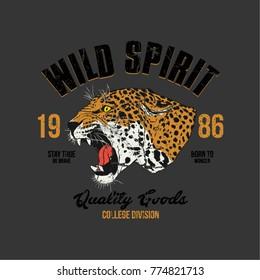 College style tee print with hand drawn roaring leopard illustration, wild spirit.