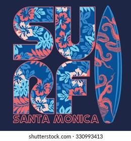 College surf flower typography, t-shirt graphics, vectors