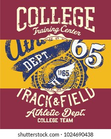 College track and field athletic department team, grunge vector print patchwork for kids boy sport wear and t shirt