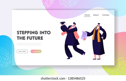 College or University Graduating Student Character Happily Celebrate Finish of Education. Teacher Giving Diploma to Scholar. Website Landing Page, Web Page. Cartoon Flat Vector Illustration, Banner